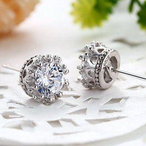 925 Sterling Silver Diamond Crown Stud Earrings